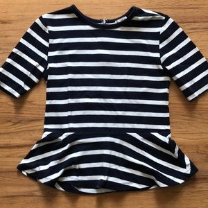 Navy and white stripe peplum top